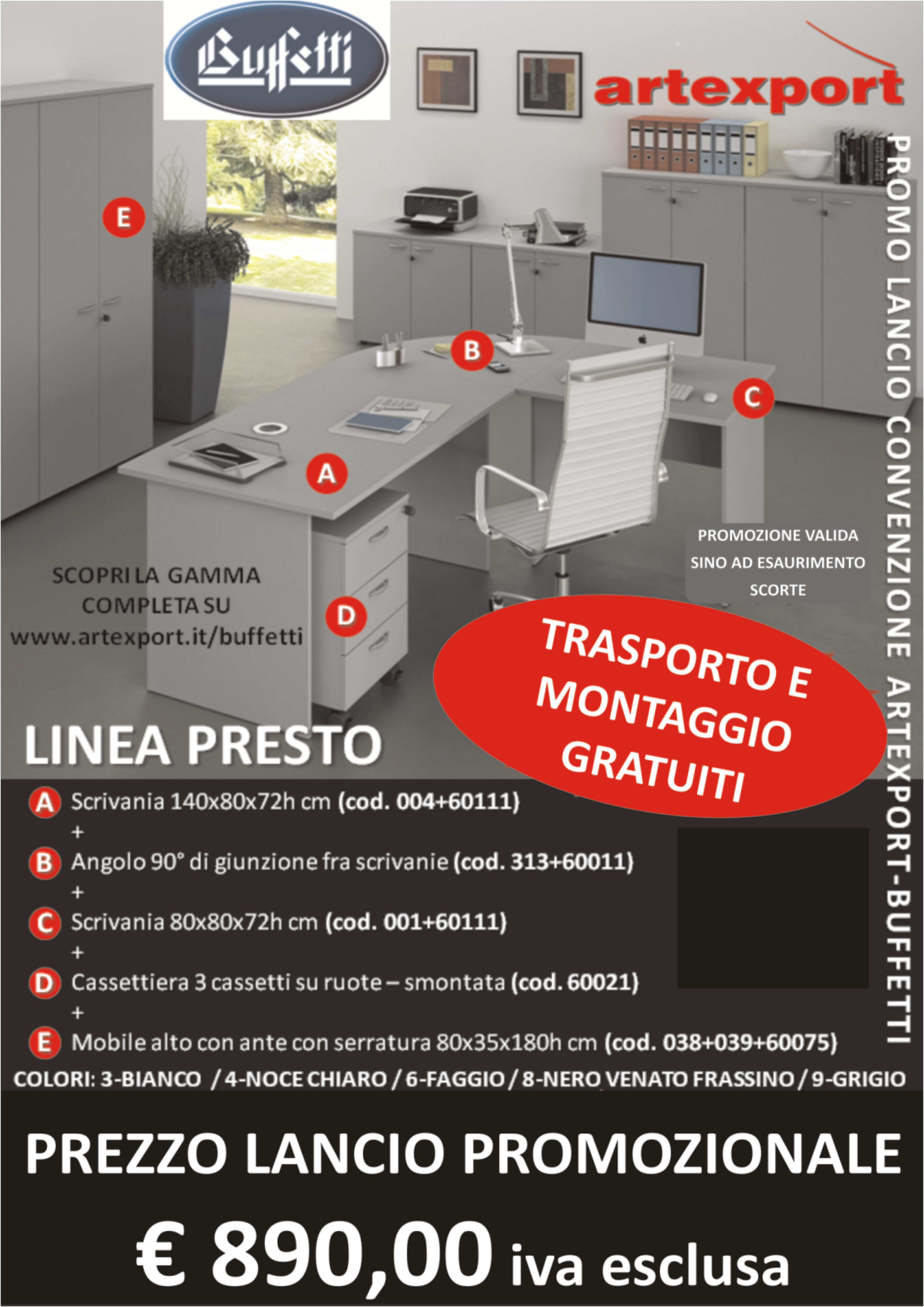 Cassettiera Ufficio Con Serratura.Composizione Ufficio Linea Presto Prezzo Lancio
